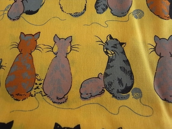 Hand Printed Fabric - Cheeky Cats Pumpkin Pie - Half Yard