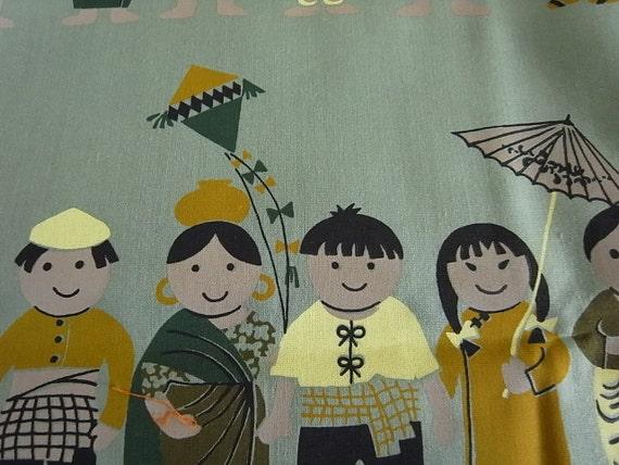 Hand printed cotton fabric -  Green SMALL WORLD kids - half yard