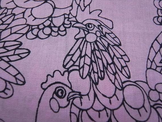 Half Yard - Hand Printed Cotton Fabric-  Rose Chicken Doodles