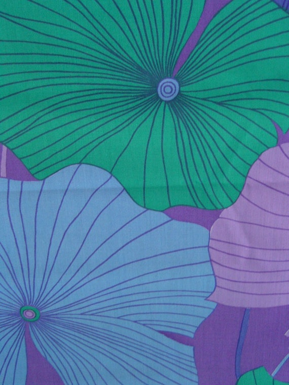 Reserved for Sonia - limited hand printed fabric - PURPLE LOTUS