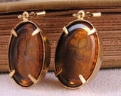 Earrings with vintage golden brown glass cameos