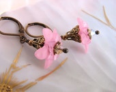 Pink Lily earrings with vintage lucite flowers