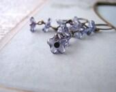 Ink blue flower earrings Czech glass