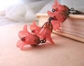 FOXGLOVE  shabby chic earrings  pink flowers