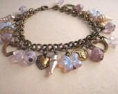 Sweet Lilac earrings charm bracelet purple pastel shabby vintage glass