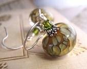 Olive lampwork glass earrings green sterling silver