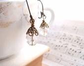 Filigree vintage style AB glass earrings