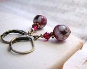 shabby earrings ruby red vintage lampwork glass