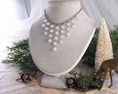 Winter White statement necklace vintage white  lampwork glass