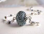 Black metallic lampwork bracelet sterling silver crystal
