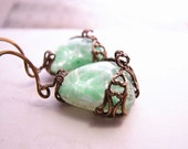 MINT earrings with vintage green art glass and filigree