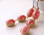 Earrings with vintage Coraline Peach art glass