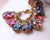 DARK OPAL  charm bracelet with vintage art glass and rhinestones blue pink