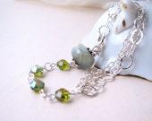 Green Lampwork Glass beaded sterling silver chain bracelet