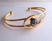 Black opal bracelet with vintage art glass stone gold plated mod