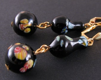 Earrings with vintage black millefiori glass