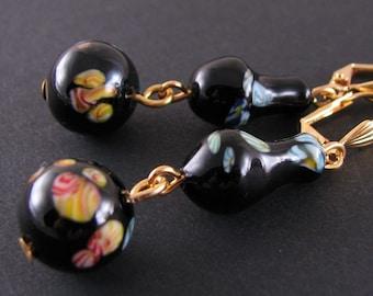 Earrings with vintage black millefiori glass