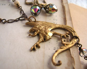 Dragon pendant necklace with Swarovski vitrail crystals vintage brass
