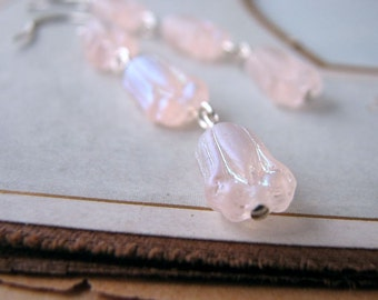 Pink Lotus earrings with glass flowers sterling silver