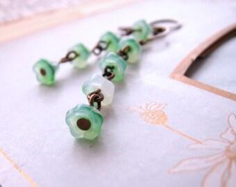 Green opal Czech glass flower earrings