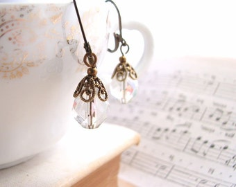 Filigree vintage style AB glass earrings