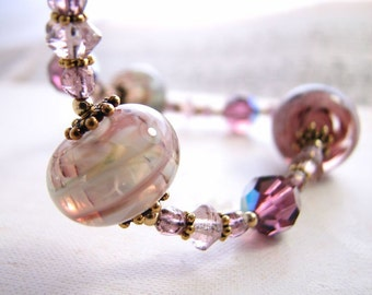 Purple Mist necklace with lampwork glass, crystal, gold filled