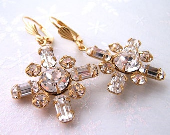Snowflake wedding earrings vintage Swarovski rhinestones