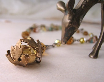 Topaz necklace with Czech glass beads and leaves woodland inspired