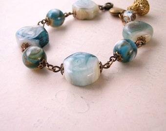 Sky blue lampwork glass bracelet