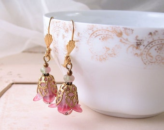 Sweet Flowers earrings pink green filigree shabby bridesmaids jewelry