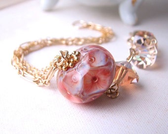 Coral Reef lampwork crystal gold filled chain bracelet