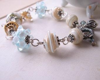 Laguna Beach Lampwork glass bracelet  Bali silver blue white tan