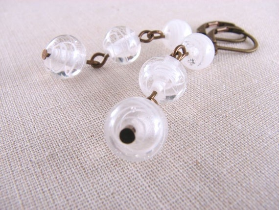 JUST WHITE   earrings with vintage  lampwork glass