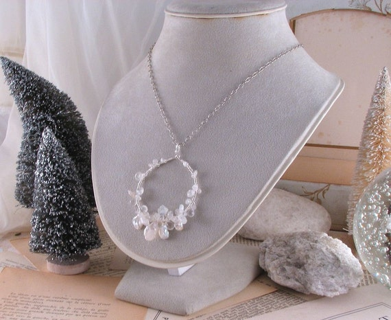 White Pearl wire wrap necklace sterling silver gemstone  moonstone