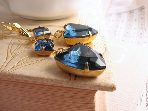 Rhinestone earrings midnight blue