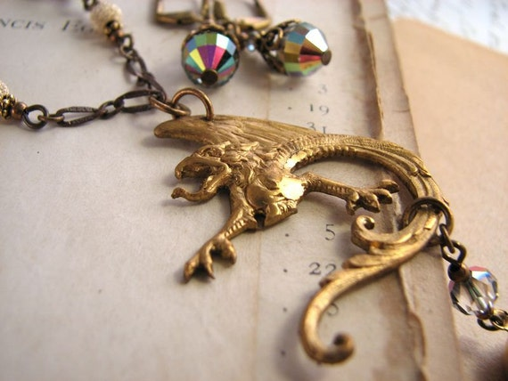 Dragon pendant necklace with Swarovski vitrail crystals vintage brass
