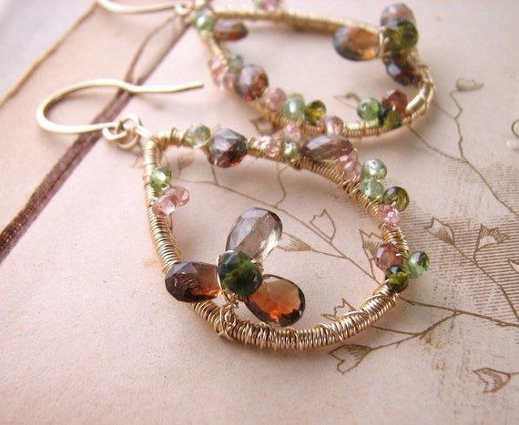 LORIEN gemstone encrusted earrings with andalusite and tourmaline
