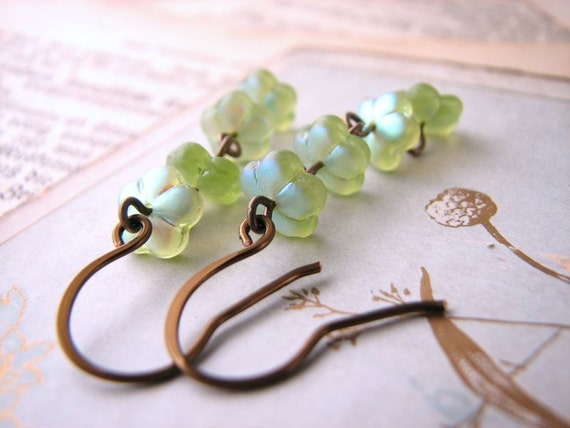 Nature Inspired Margarita Green Czech glass flower earrings