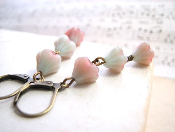 spring jewelry Shabby pastel earrings with mint green and pink glass flowers