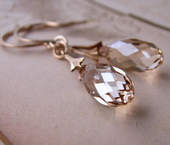 Swarovski crystal earrings golden shadow gold filled