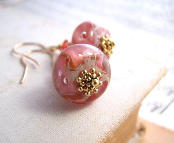 coral pink lampwork glass earrings crystal gold filled