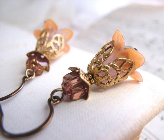 Mauve Peach Nature Inspired Shabby Flower earrings crystal filigree