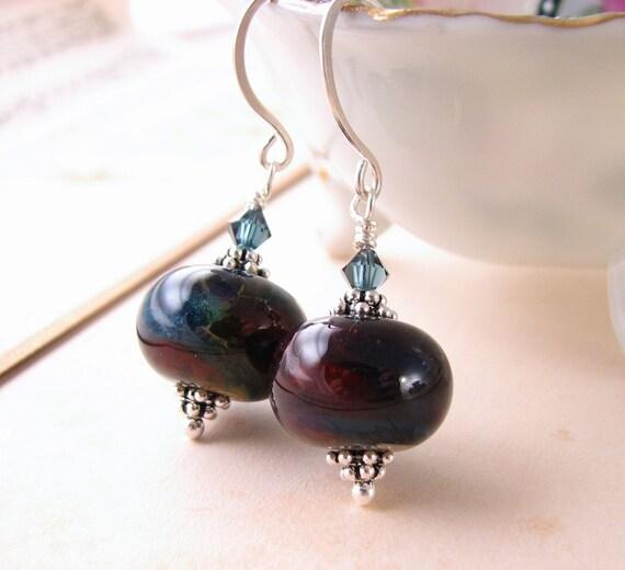 Dark blue red lampwork glass earrings sterling silver