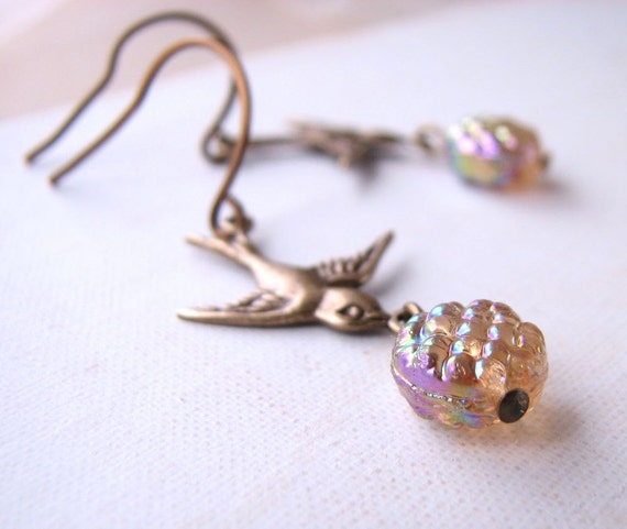 Winter Berry earrings with vintage topaz AB glass beads Nature Inspired