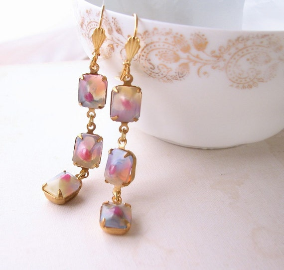 Earrings with vintage pastel art glass pink blue
