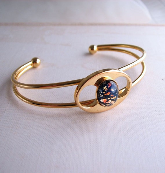 Black opal bracelet with vintage art glass stone gold plated mod