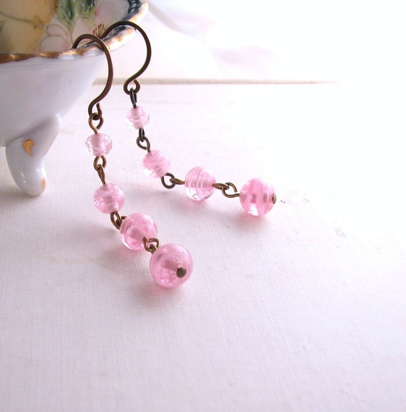 pink swirl earrings with vintage  glass spring jewelry