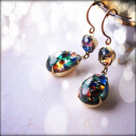 Black opal earrrings with vintage art glass stones