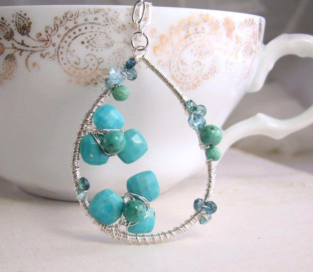 turquoise flower december birthstone necklace sterling silver. Black Bedroom Furniture Sets. Home Design Ideas