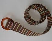 Women's Fabric Belt-brown multi-stripe